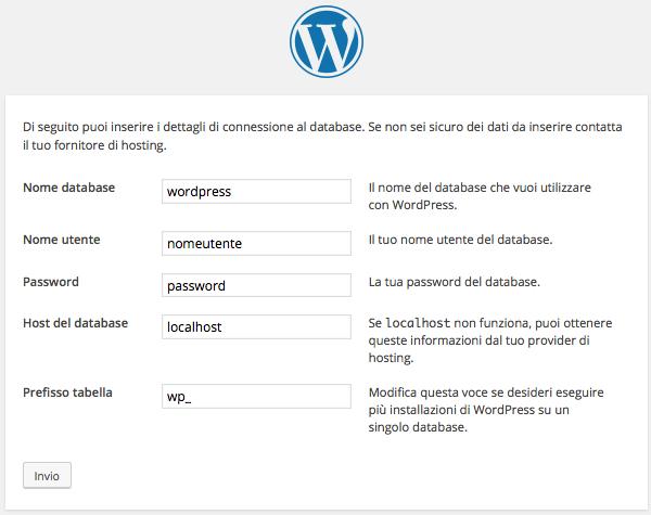 Comunicare a WordPress il database