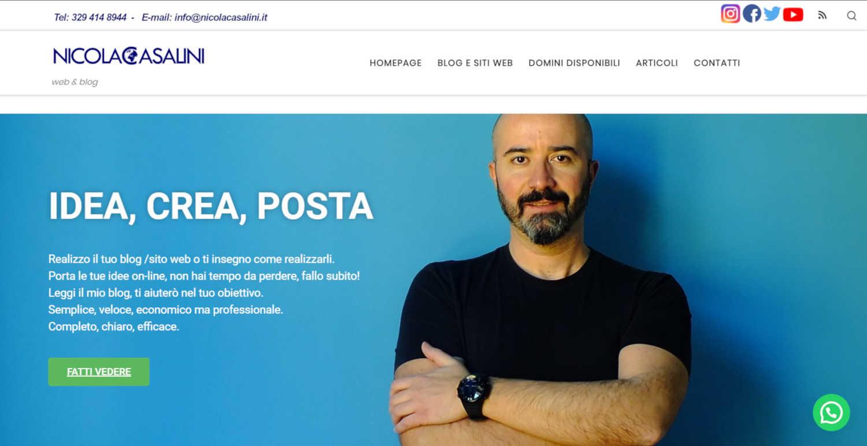 Header Nicola Casalini con barra superiore icone social