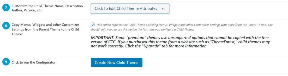 Come configurare un tema Child con Theme Configurator