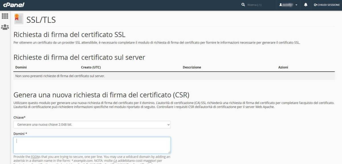 SSL - Genera una nuova richiesta di firma del certificato